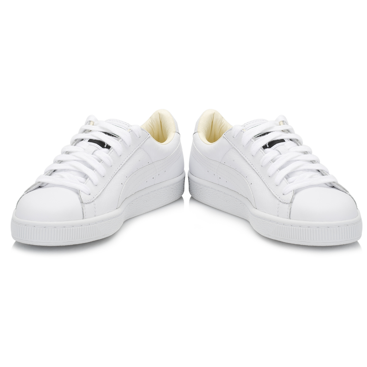 PUMA Unisex White Basket Classic Leather Trainers Lace Up Sport Casual Shoes