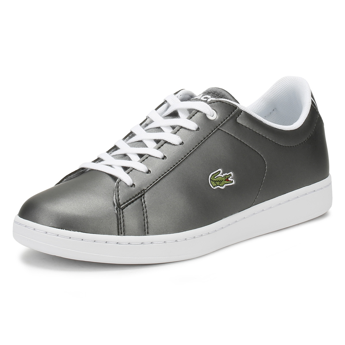 d9a0a61e Details about Lacoste Junior Trainers Gunmetal Grey & White Carnaby EVO 218  Kids Casual Shoes