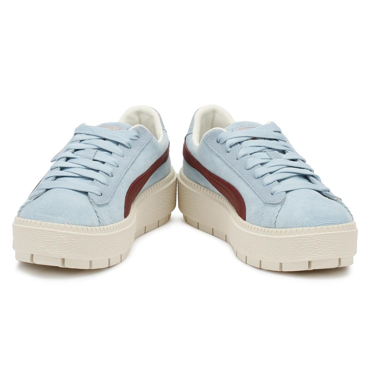 201314a7a6d3 PUMA Womens Trainers Cerulean Blue Corduroy Trace Platform Lace Up Casual  Shoes