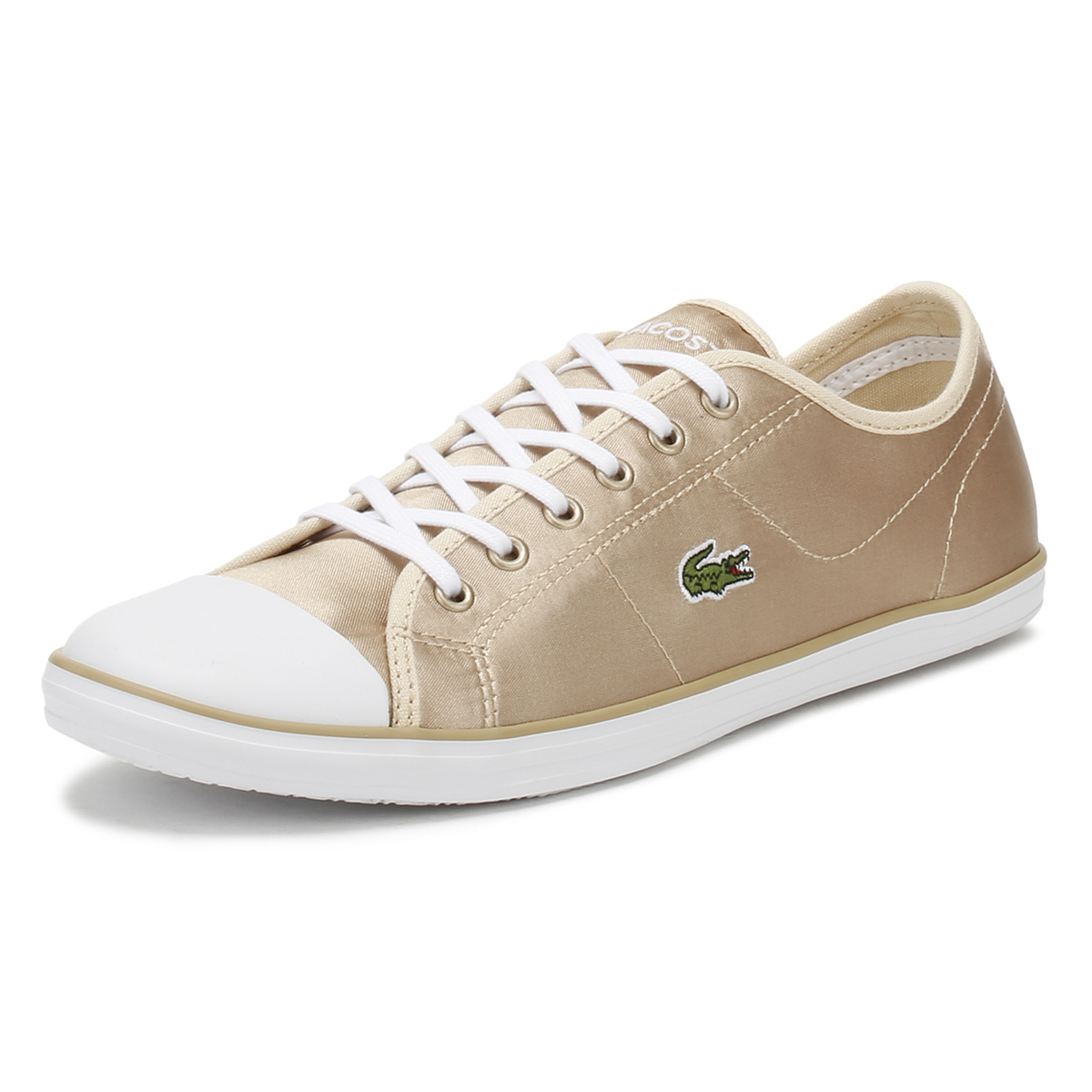 finest selection 78091 2225a Details about Lacoste Womens Trainers Gold & White Ziane 118 2 Lace Up  Sport Casual Shoes