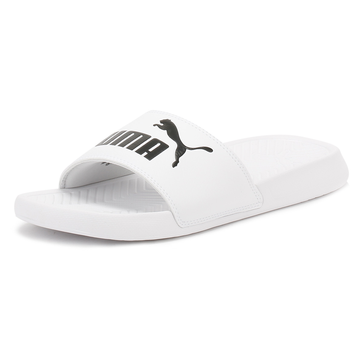 5dae628fba1c7d PUMA Unisex White Popcat Slides Summer Beach Sandals Rubber Shoes
