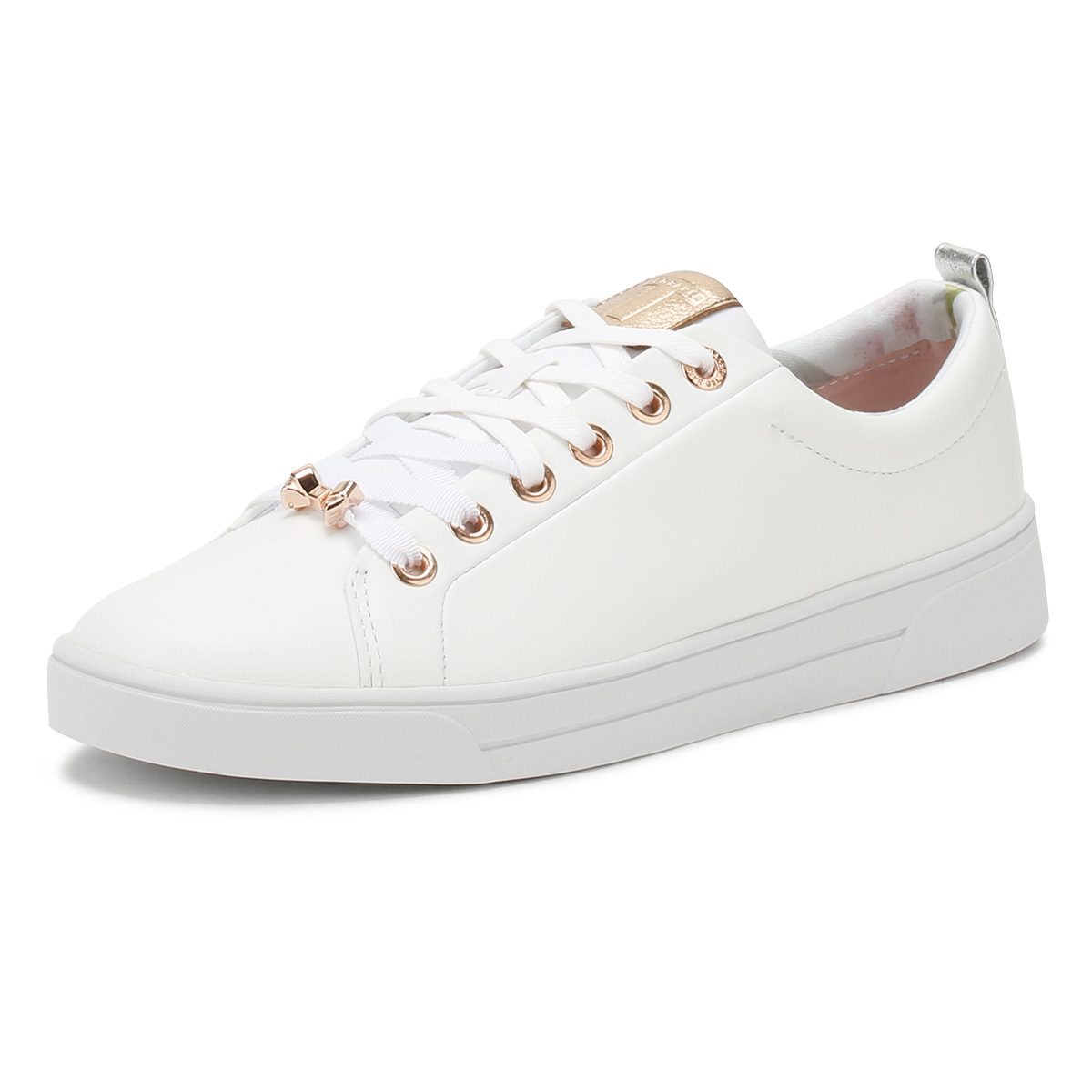 a88dd5ea59b Details about Ted Baker Womens White Kellei Trainers Lace Up Sport Casual  Ladies Shoes
