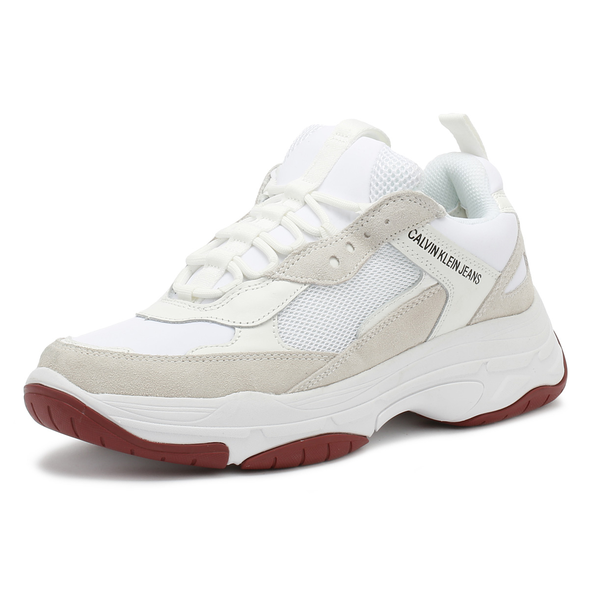 ee807e601 Details about Calvin Klein Jeans Womens Trainers White Maya Chunky Lace Up  Sport Casual Shoes