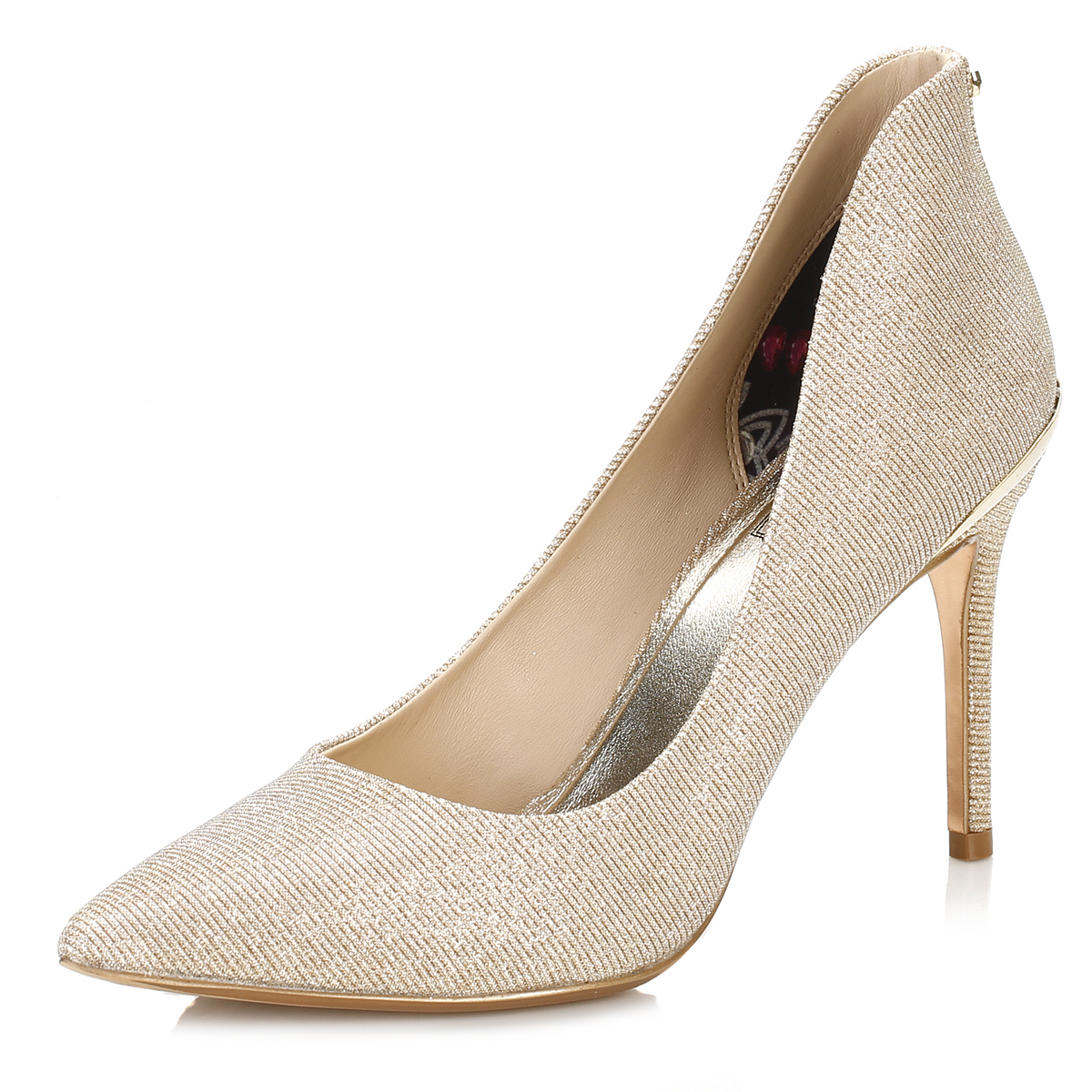 Ted Baker Womens Court Shoes, Gold Sparkle, High Heel Stiletto ...