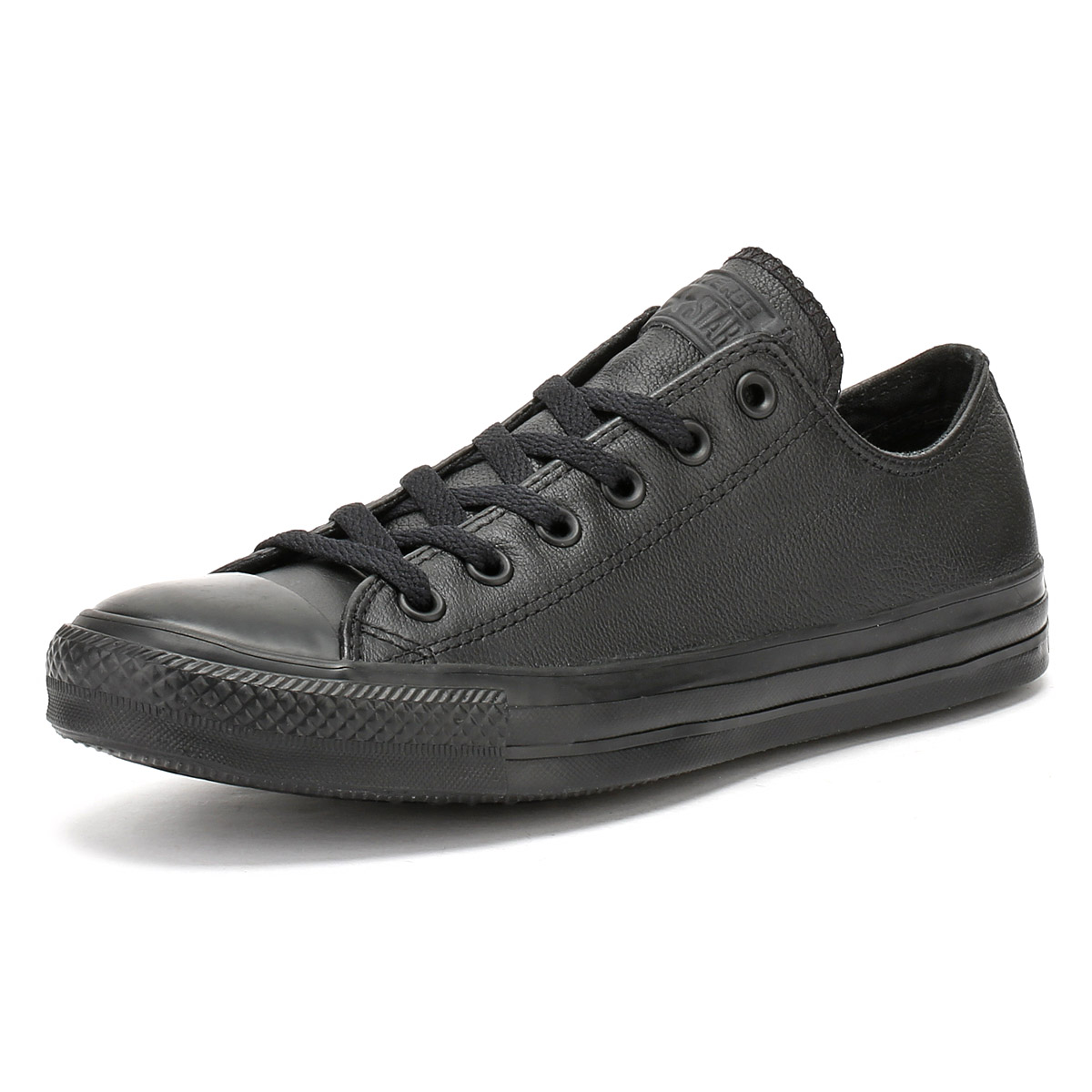 cdd3cd062ed0 Details about Converse Unisex Black All Star OX Leather Trainers Mens  Womens Lace Up Sneakers