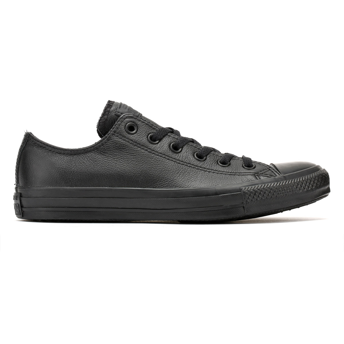 ae6a36d773a Converse Unisex Black All Star OX Leather Trainers Mens Womens Lace Up  Sneakers