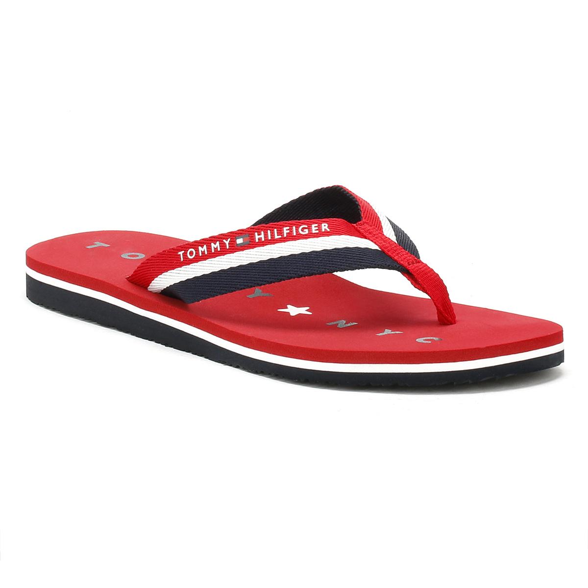 0324107c163c Tommy Hilfiger Womens Flip Flops Tango Red Blue Ladies Beach Thong ...