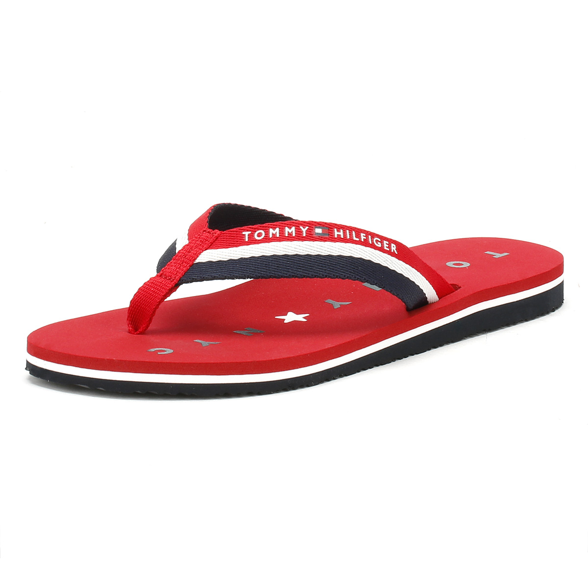 aadd0702a03885 Details about Tommy Hilfiger Womens Flip Flops Tango Red Blue Ladies Beach  Thong Sandals