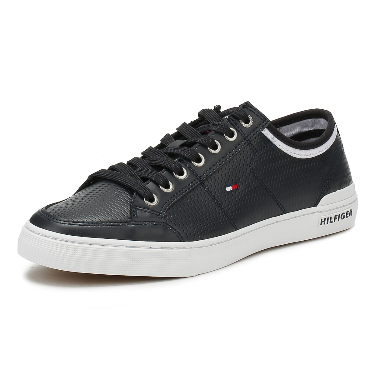 Tommy Hilfiger Mens Trainers Midnight Black Corporate Leather Lace Up Up Lace Shoes 6edae1