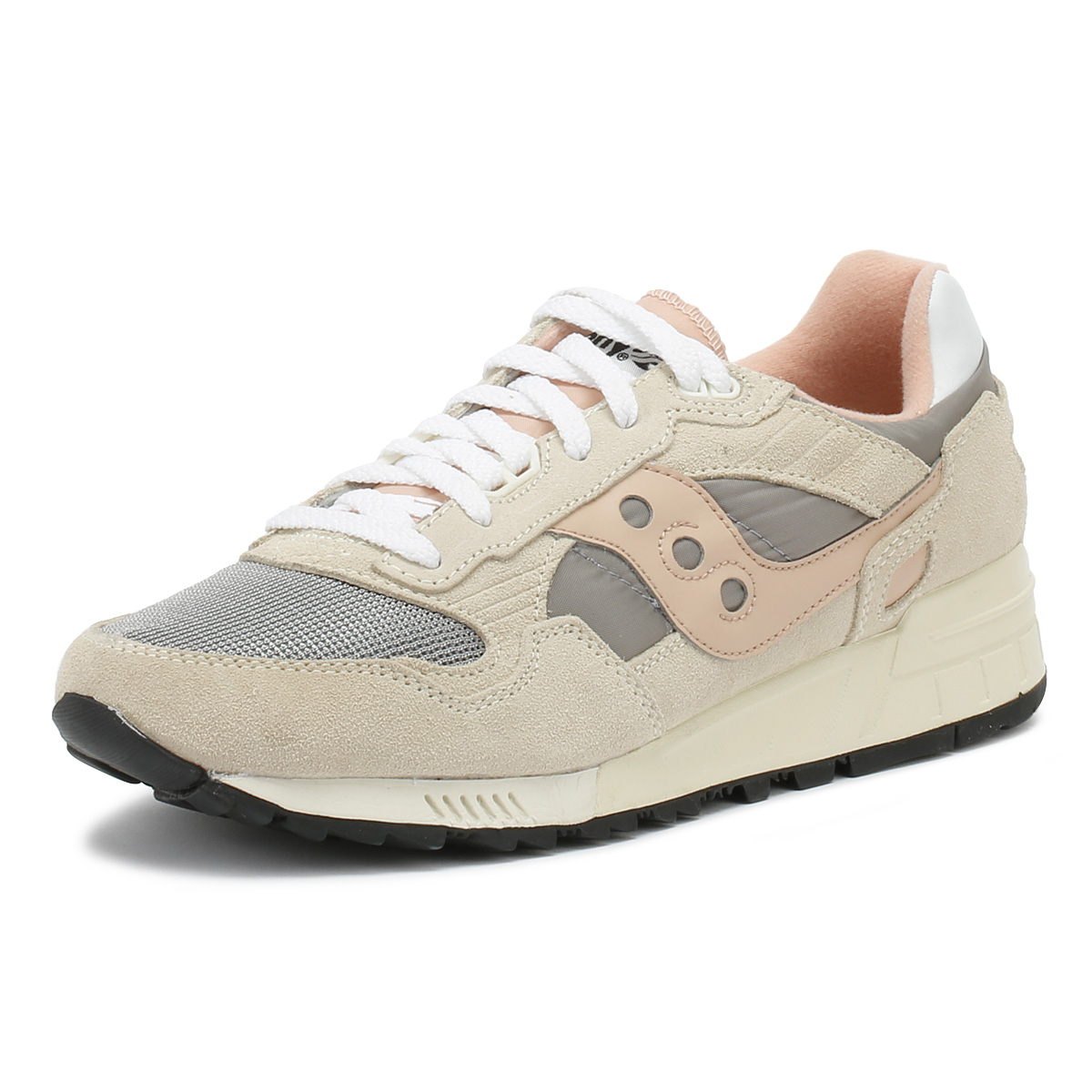 size 40 55965 faf82 Details about Saucony Shadow 5000 Mens Trainers Off White Grey & Pink Sport  Casual Shoes