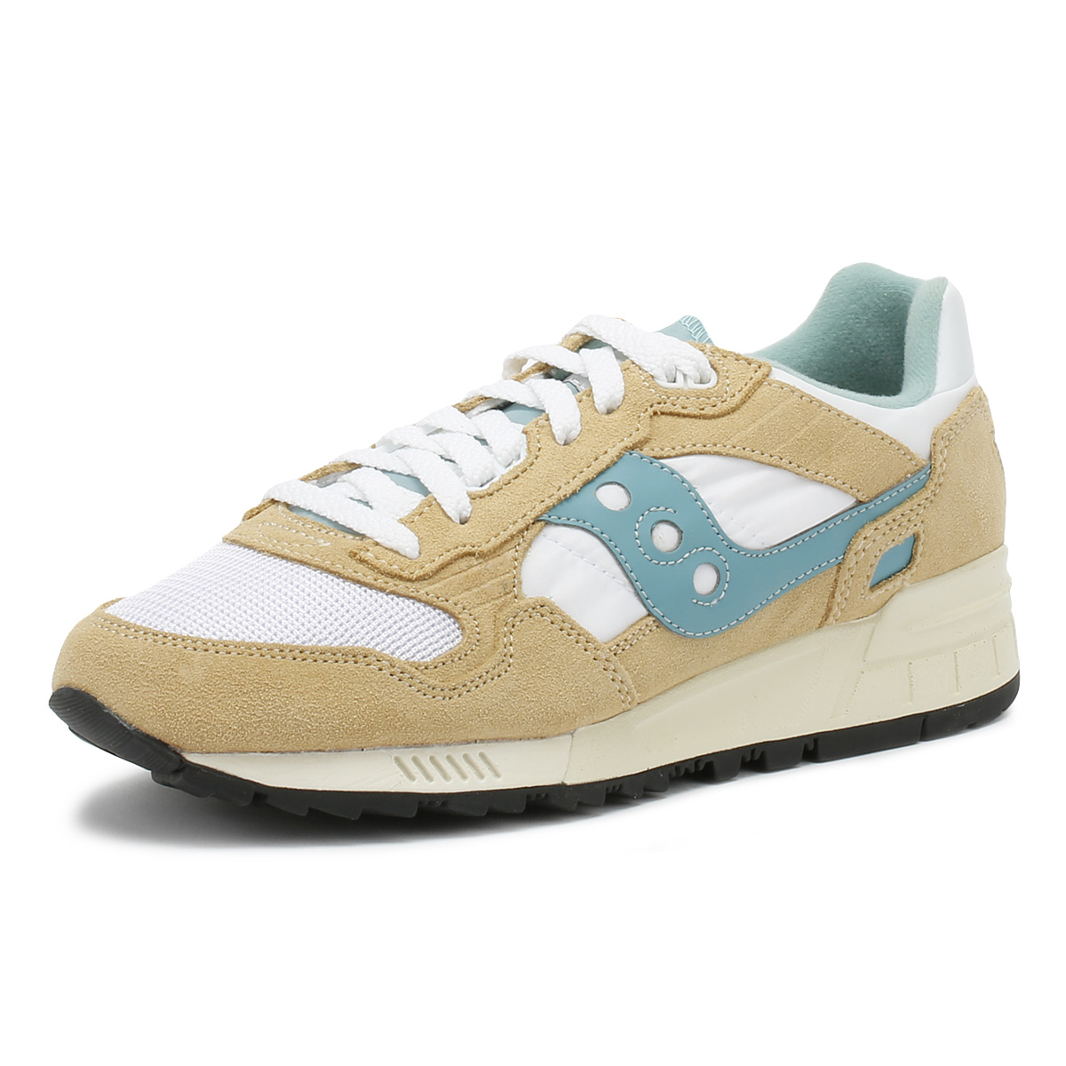 dec641e5542a Details about Saucony Womens Trainers Tan White   Blue Shadow 5000 Vintage  Sport Casual Shoes