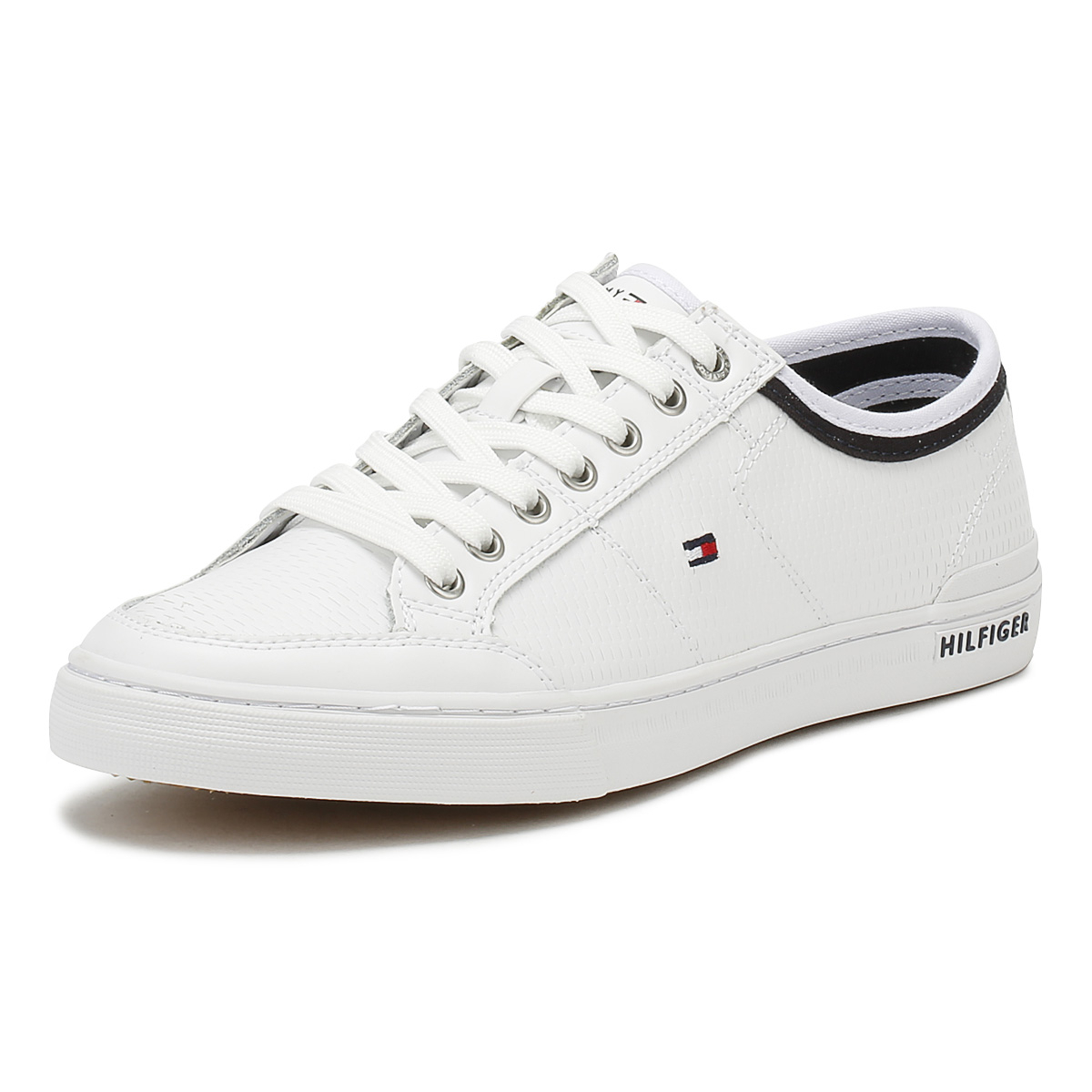 e87d729c73f9 Details about Tommy Hilfiger Mens Trainers White Corporate Leather Lace Up  Casual Shoes
