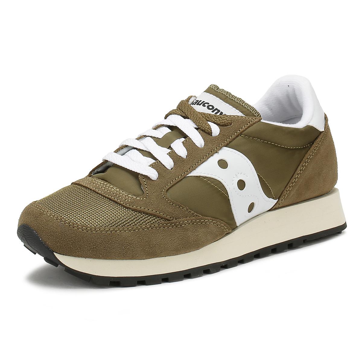 5e09de785072 Details about Saucony Mens Olive Green Jazz Original Trainers Lace Up  Vintage Casual Shoes