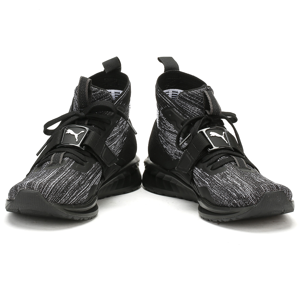 PUMA Mens Black Ignite EvoKnit 2 Trainers Casual Shoes Hi High Tops
