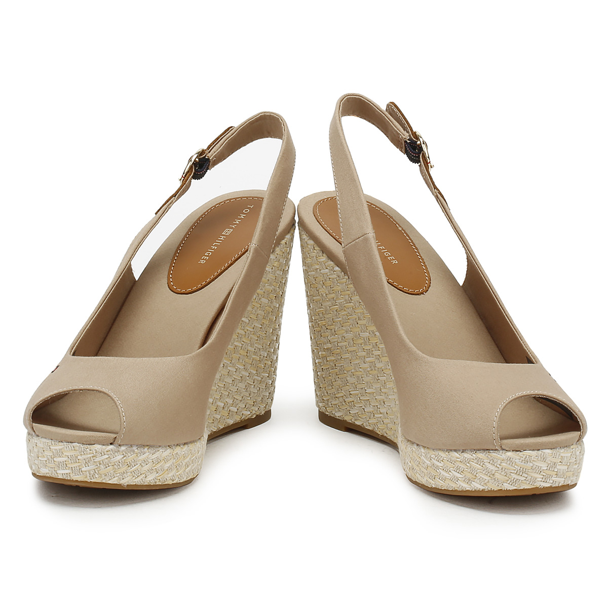 acf32f13b Tommy Hilfiger Womens Wedge Sandals Cobblestone Grey Elba Peep Toe Ladies  Shoes