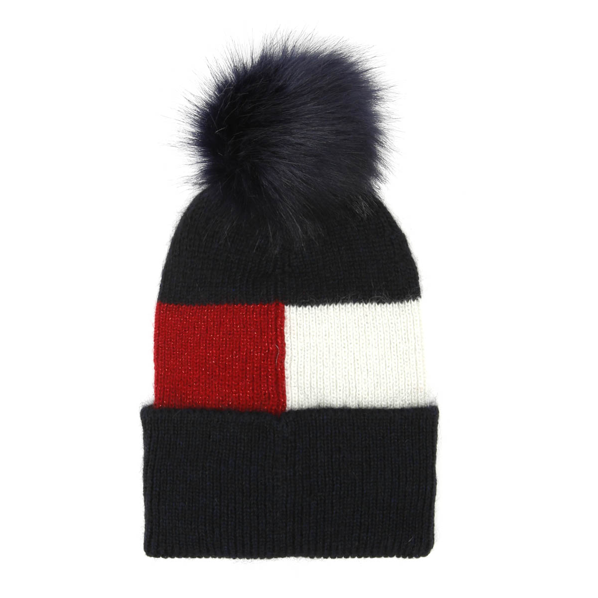 1517a37c1e0 Details about Tommy Hilfiger Luxury Colour Blocked Navy Beanie Unisex Warm  Winter Knitted Hat