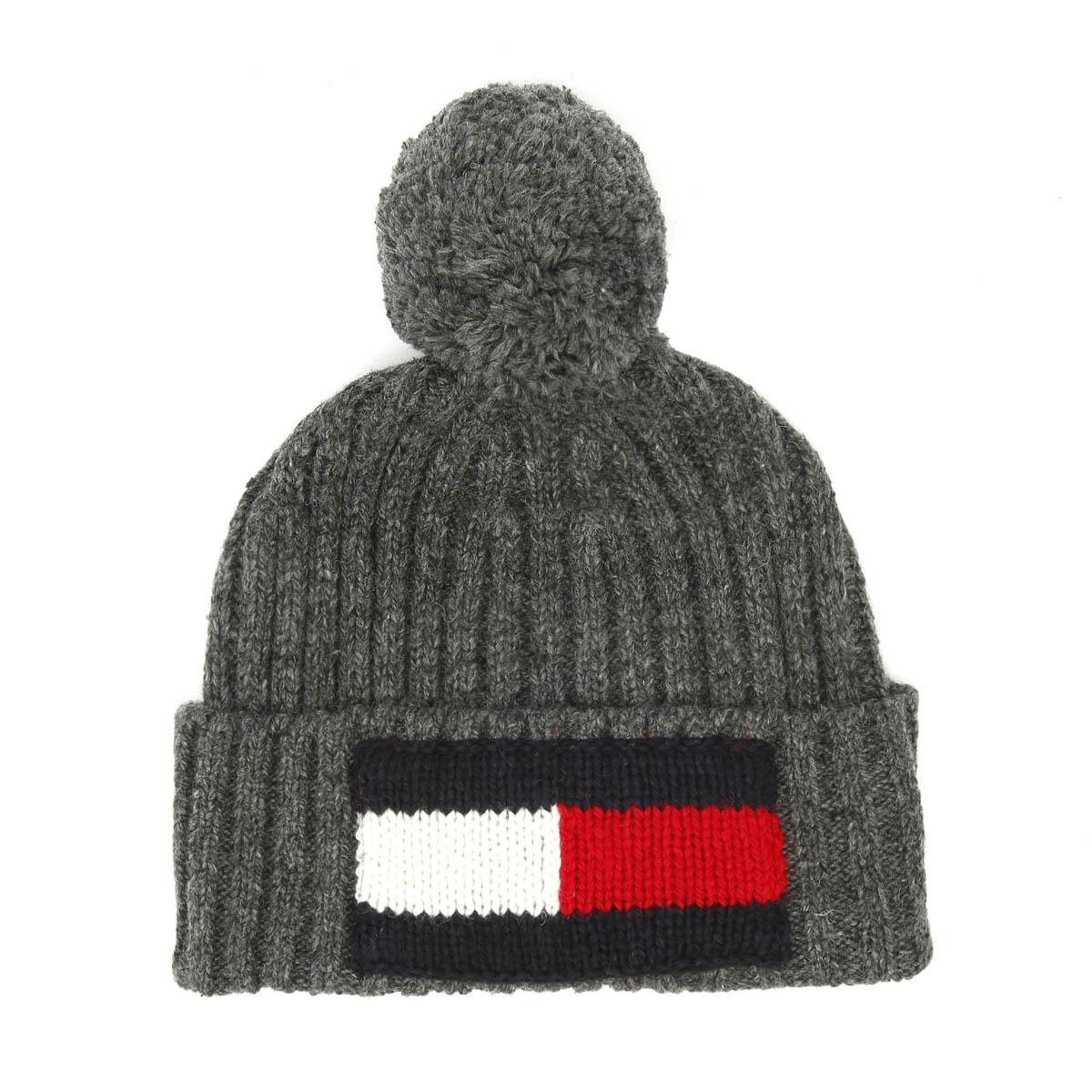 319b3eeac Tommy Hilfiger Big Flag Charcoal Grey Beanie Unisex Warm Winter Knitted Hat