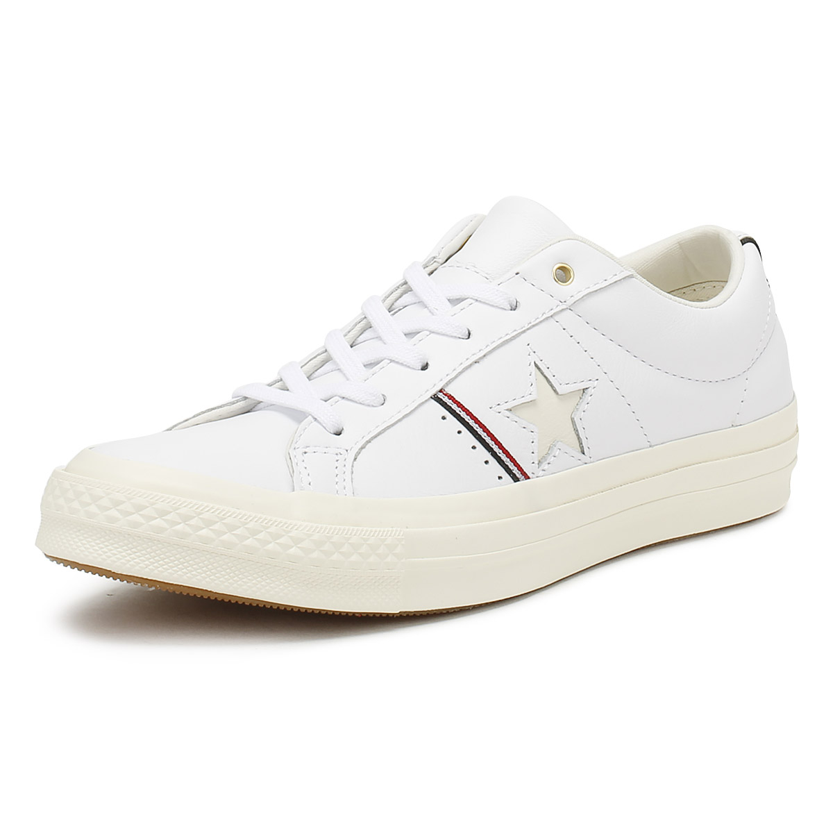 01f25ce81b3 Details about Converse One Star Womens White Ox Trainers Premium Leather  Lace Up Shoes