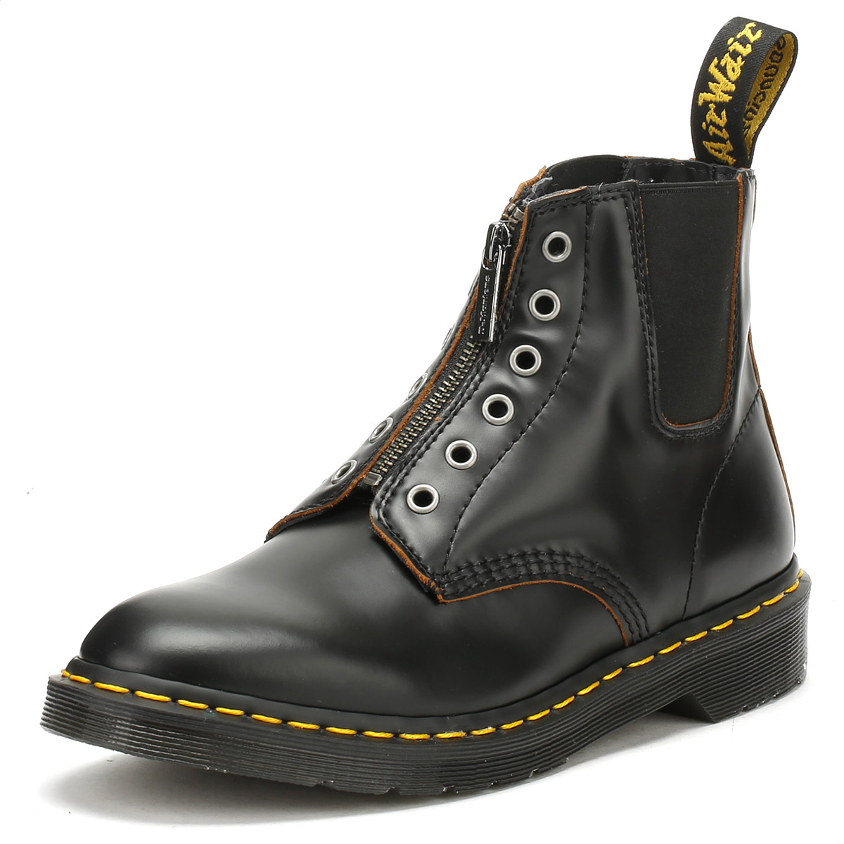 Dr. Martens Mens Boots Black Vintage Leather 101 GST Zip Up Winter Shoes