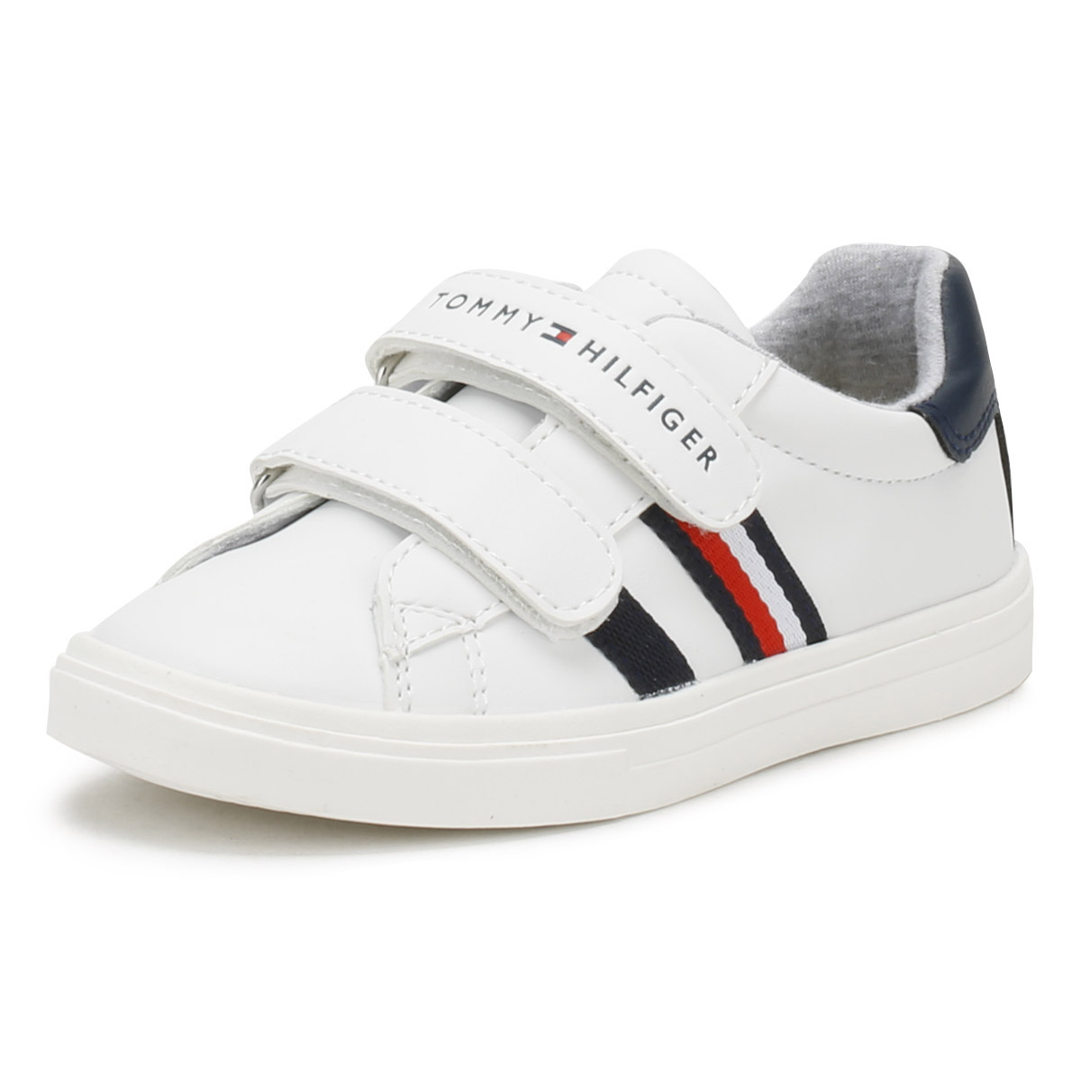 dadc6713c69468 Tommy Hilfiger Toddlers White T1X4 V Trainers Hook & Loop Kids Casual Shoes