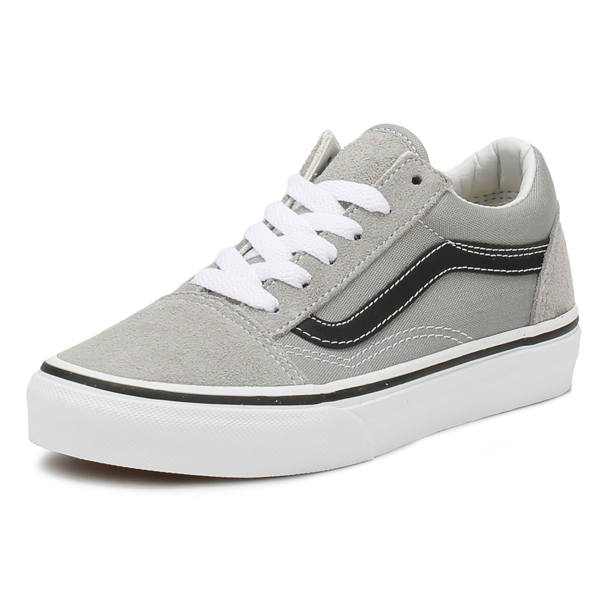 a2c9d3e2df Details about Vans Kids Trainers Drizzle Grey   Black Old Skool Lace Up  Skate Shoes