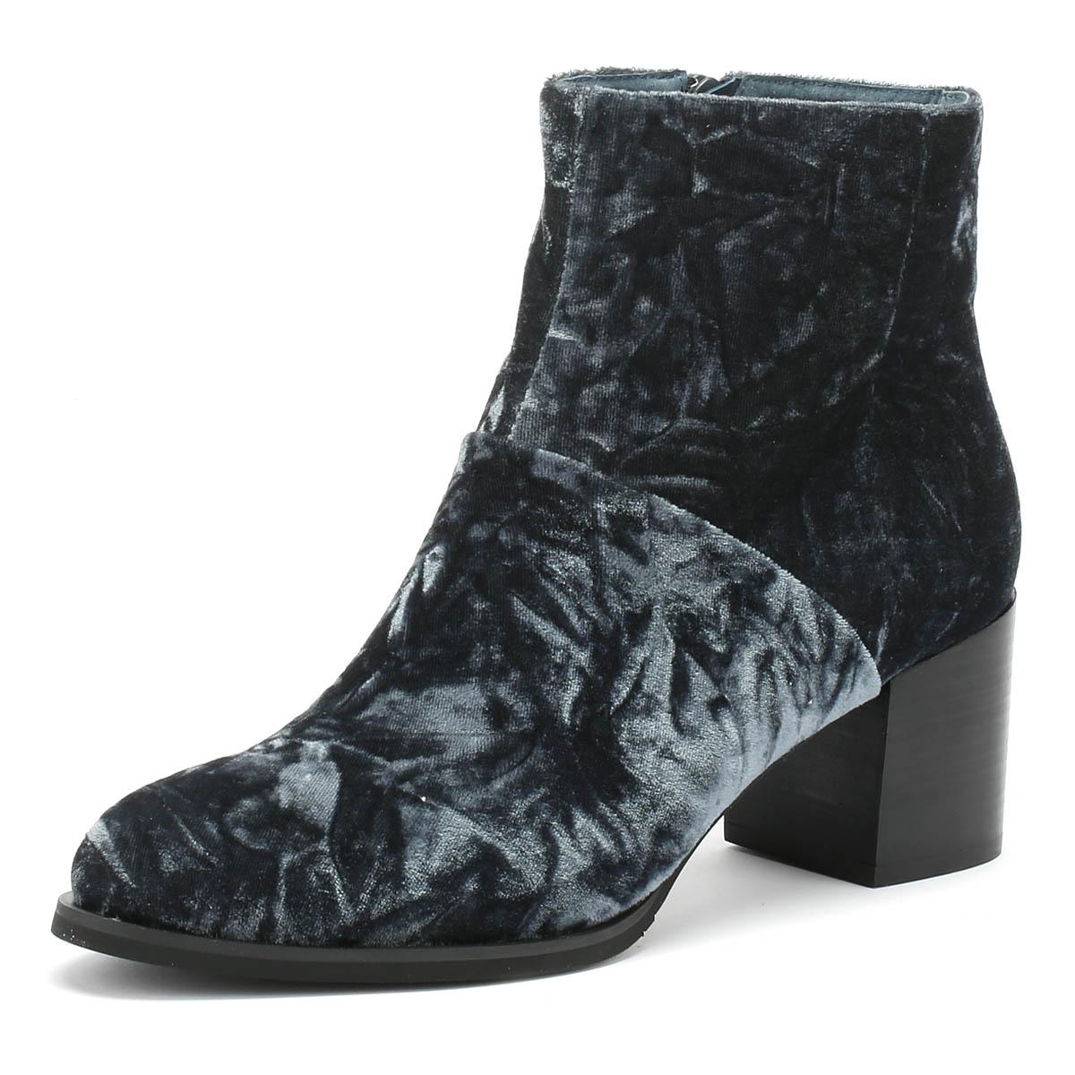 Shoe The Bear Ceci Pour Femme Bottes Gris Foncé Velours Talon Moyen Hiver Cheville Chaussures-afficher Le Titre D'origine La DernièRe Mode