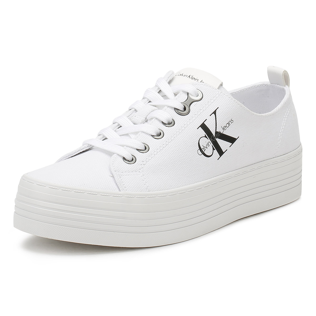 2f1cf52e9f3d Details about Calvin Klein Jeans Womens Platform Trainers White Zolah  Canvas Lace Up Shoes