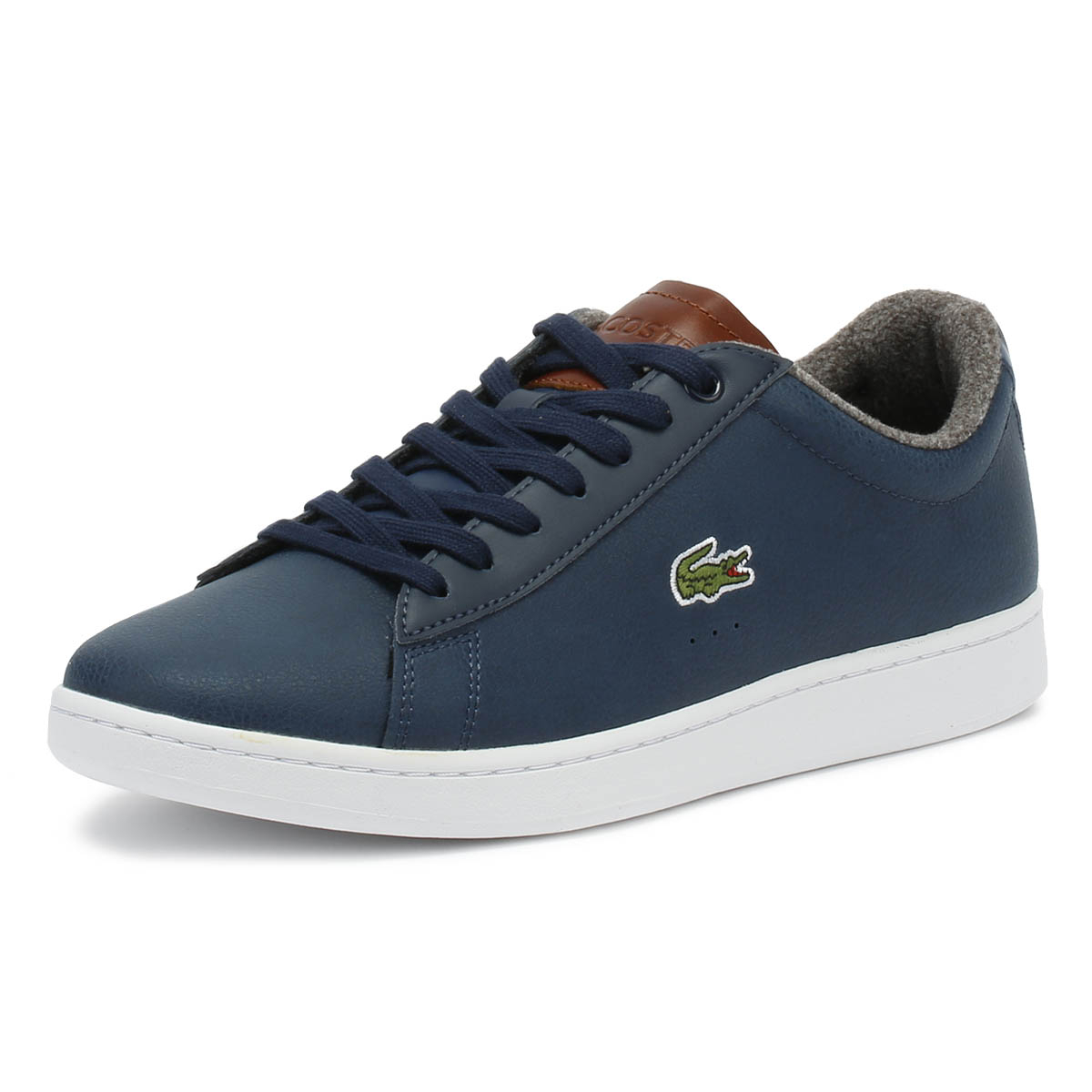 3befc0883 Details about Lacoste Mens Trainers Carnaby EVO 318 2 Navy   Brown Sport  Casual Shoes
