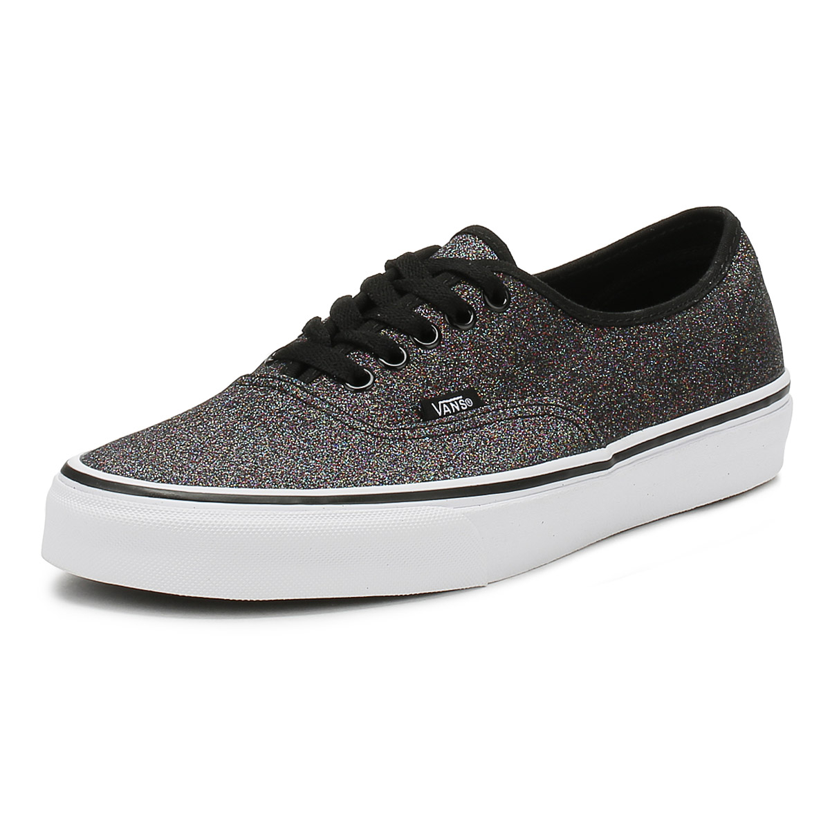 aa87cae715 Details about Vans Womens Authentic Trainers Glitter Rainbow Black Lace Up  Ladies Skate Shoes