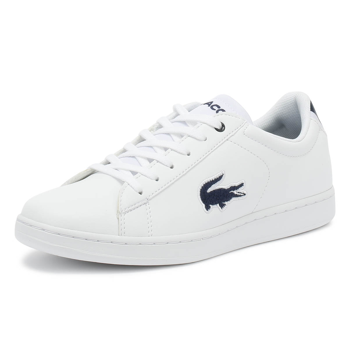 150e8bdd28e145 Details about Lacoste Carnaby EVO 318 1 Junior White   Navy Trainers Kids  Shoes