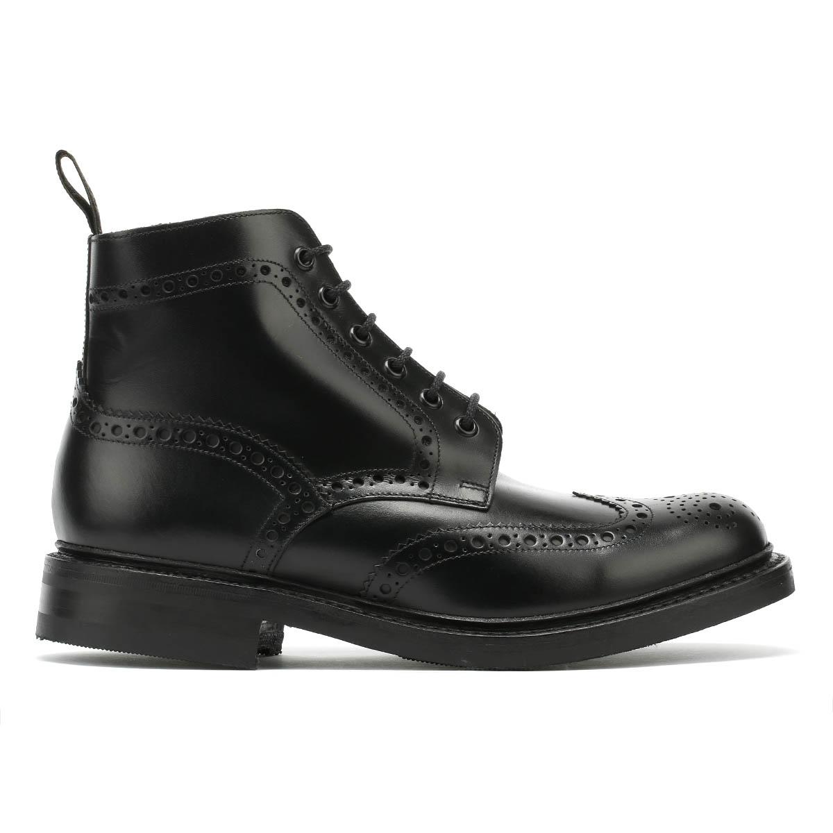 in scarpe Bedale pelle Vitello Up Boots Brogue Mens invernali Lace Nero Loake vR8qa