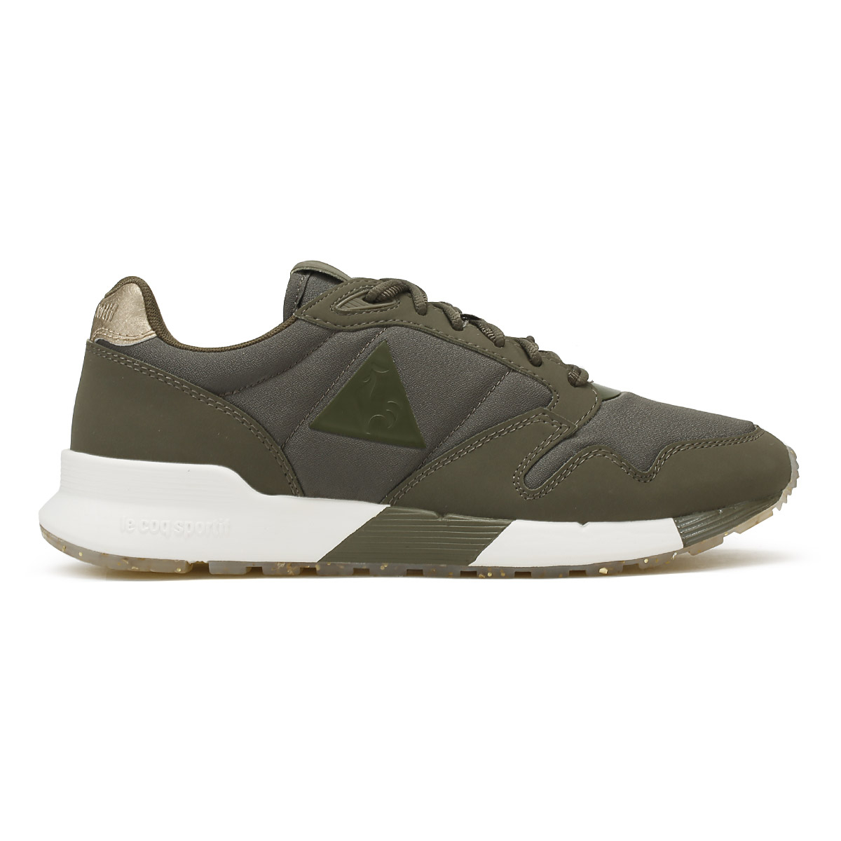 9f3af2f29e8f Women s Le COQ Sportif Omega X W Metallic Low Rise Trainers in Green ...