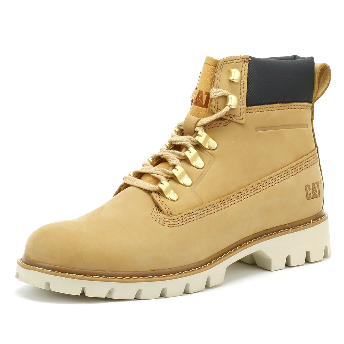 be8275aeef7 Details about Caterpillar Lexicon Mens Boots Honey Reset Yellow Nubuck  Leather Winter Shoes