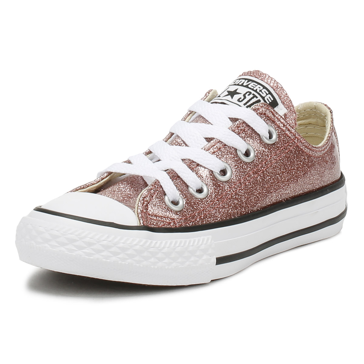 75ad24ae6a7399 Converse Chuck Taylor All Star Junior Trainers Rose Gold Lace Up Kids Shoes