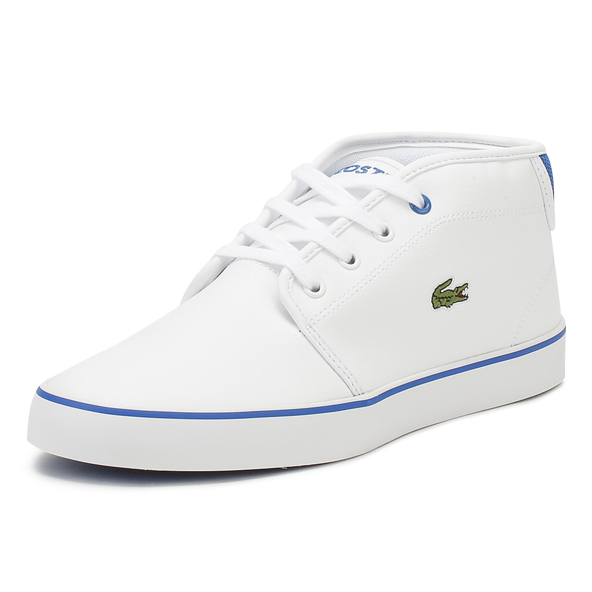 c5591e7fd Lacoste Junior Trainers White  Blue AMPTHILL 118 1 Kids Leather Casual Shoes