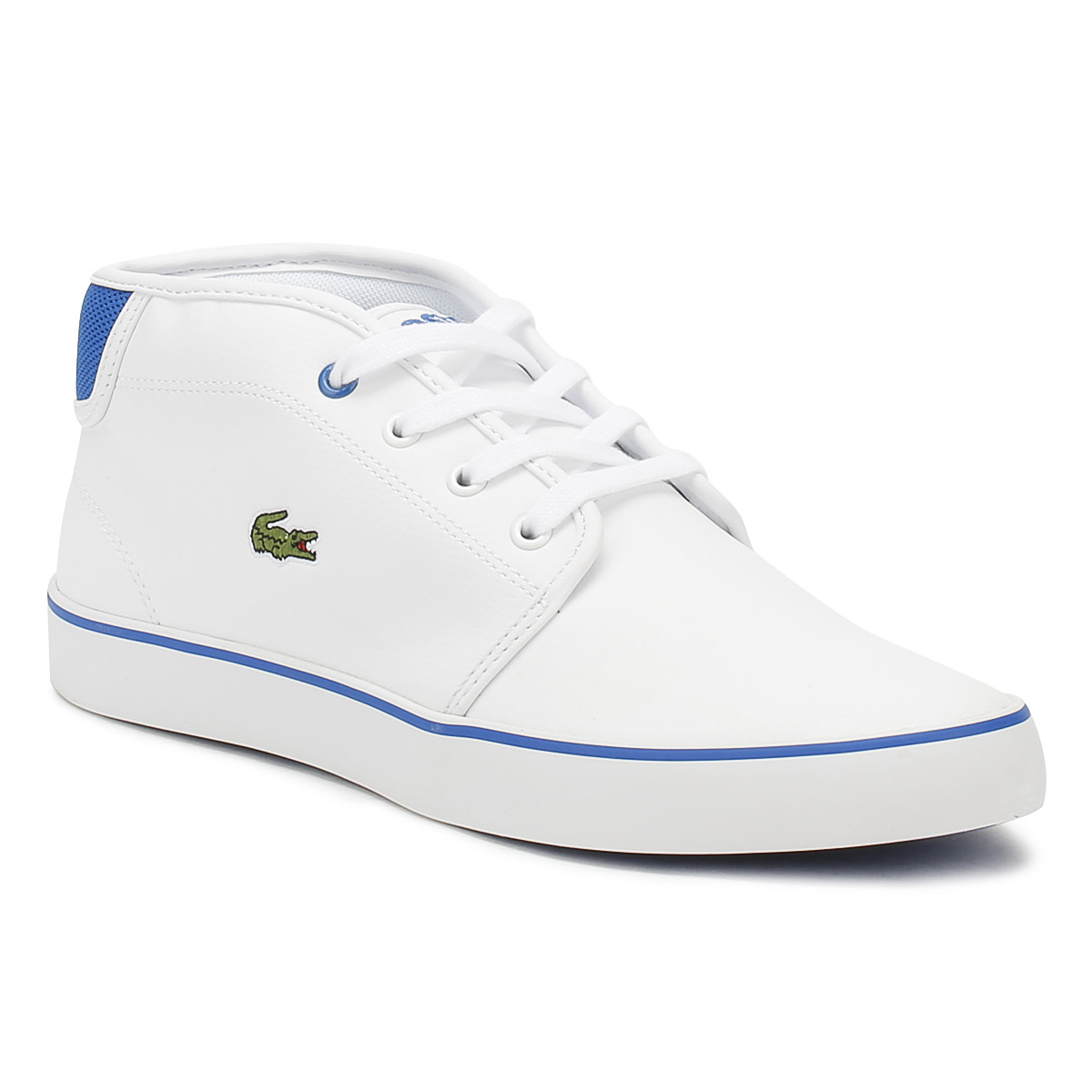 8542fd042 Details about Lacoste Junior Trainers White  Blue AMPTHILL 118 1 Kids  Leather Casual Shoes