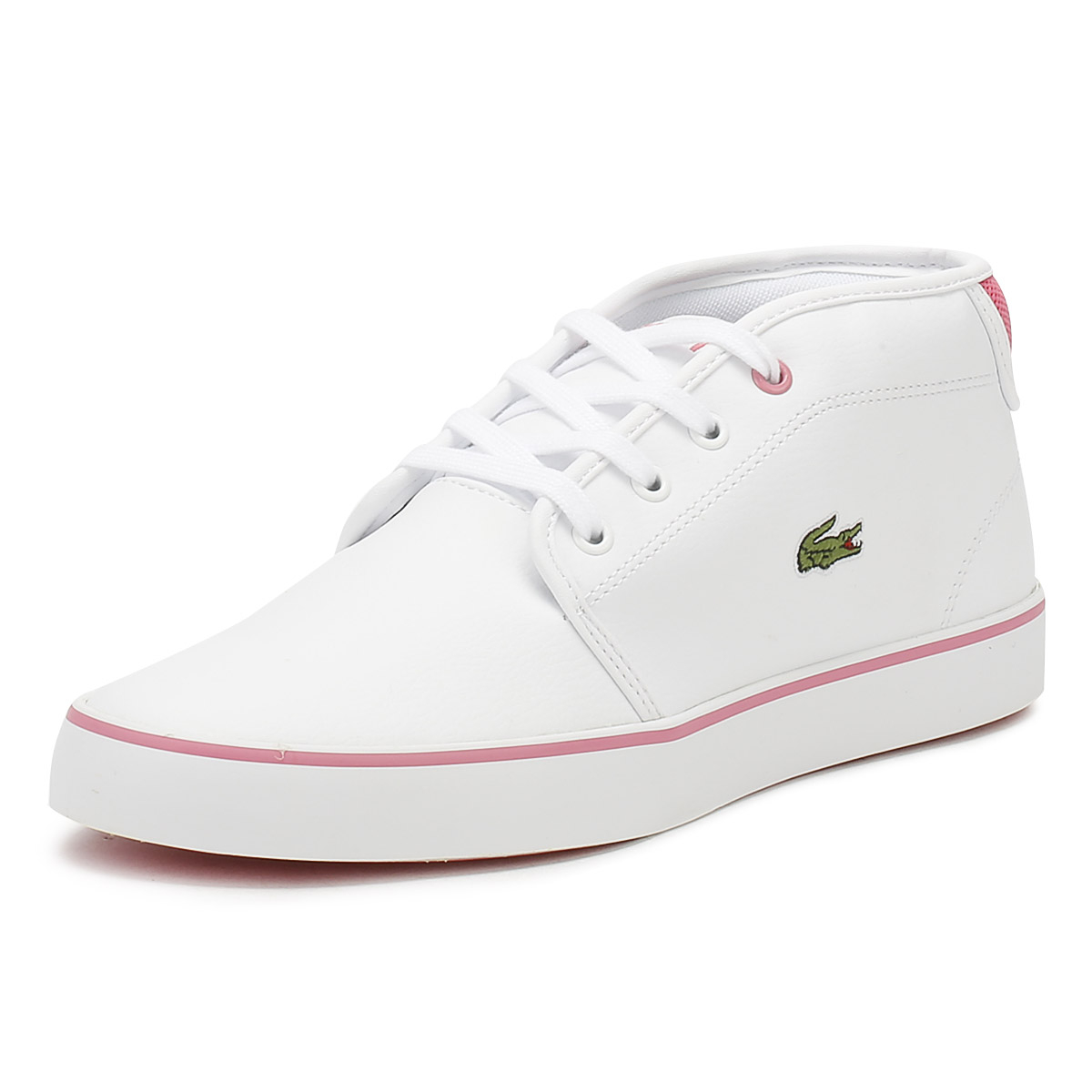 Details about Lacoste Junior Trainers White  Pink AMPTHILL 118 1 Kids  Leather Casual Shoes 22491c318fb