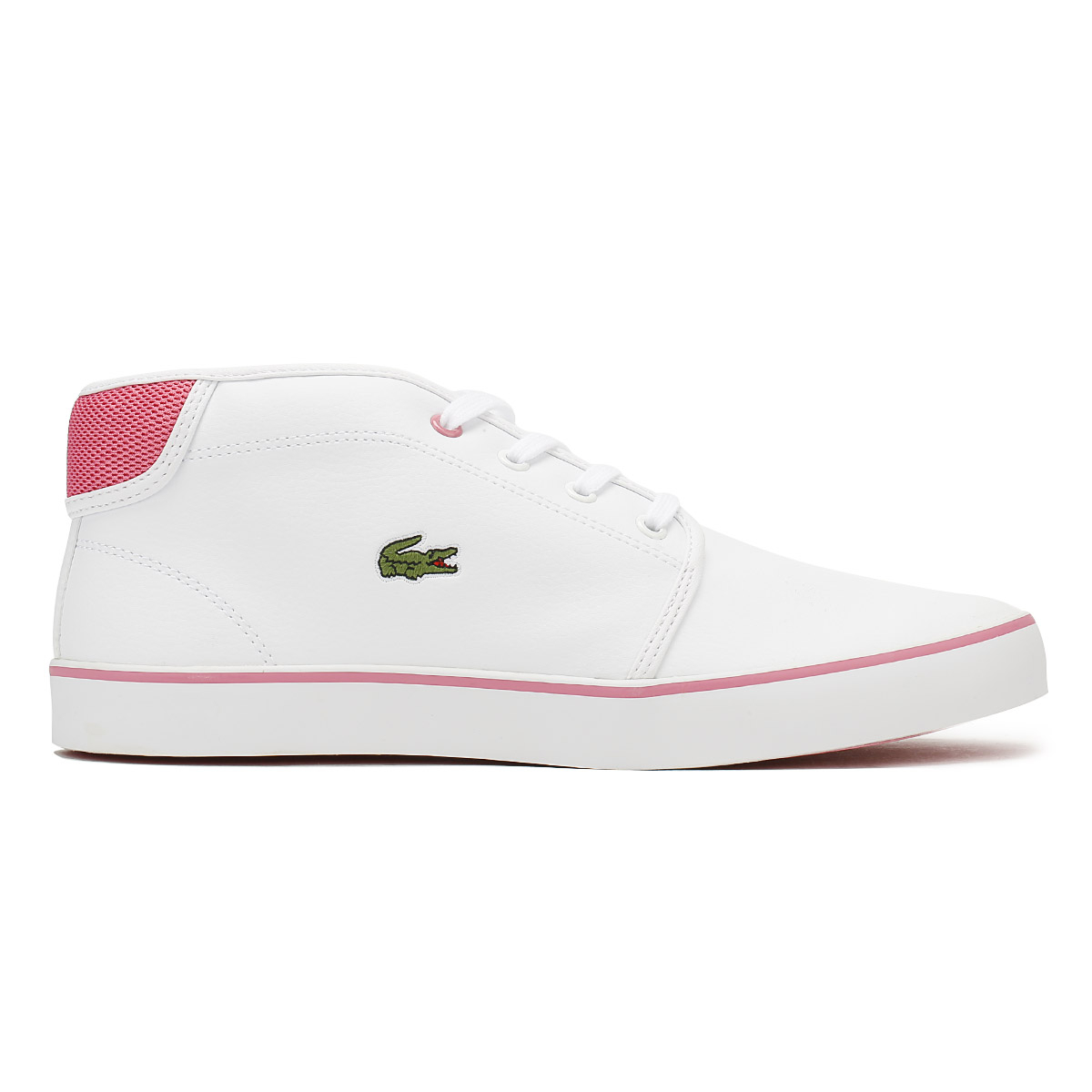 36754128dfabd6 Lacoste Junior Trainers White  Pink AMPTHILL 118 1 Kids Leather Casual Shoes