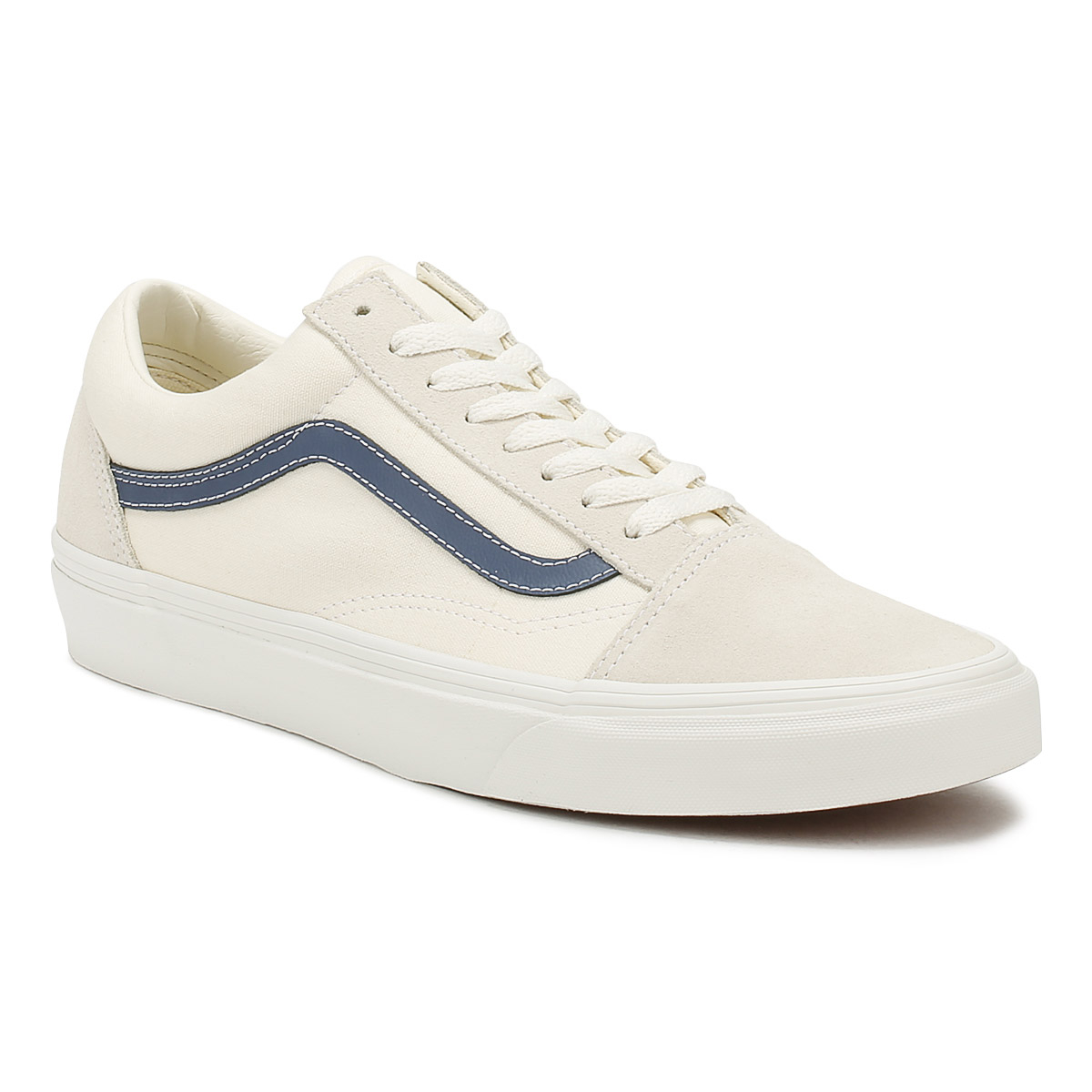 2148d49b32d3da Vans Mens Old Skool Trainers Vintage White   Indigo Blue Lace Up Skate Shoes
