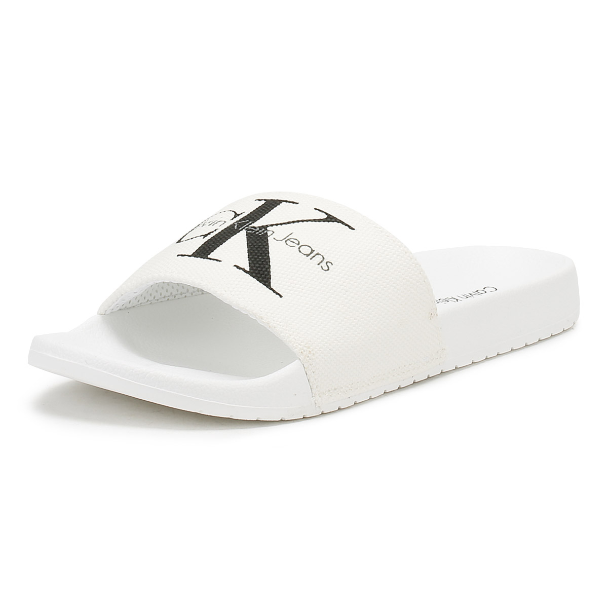 ab4c042bf Details about Calvin Klein Jeans Mens White Viggo Slides Summer Flip Flops  Beach Shoes