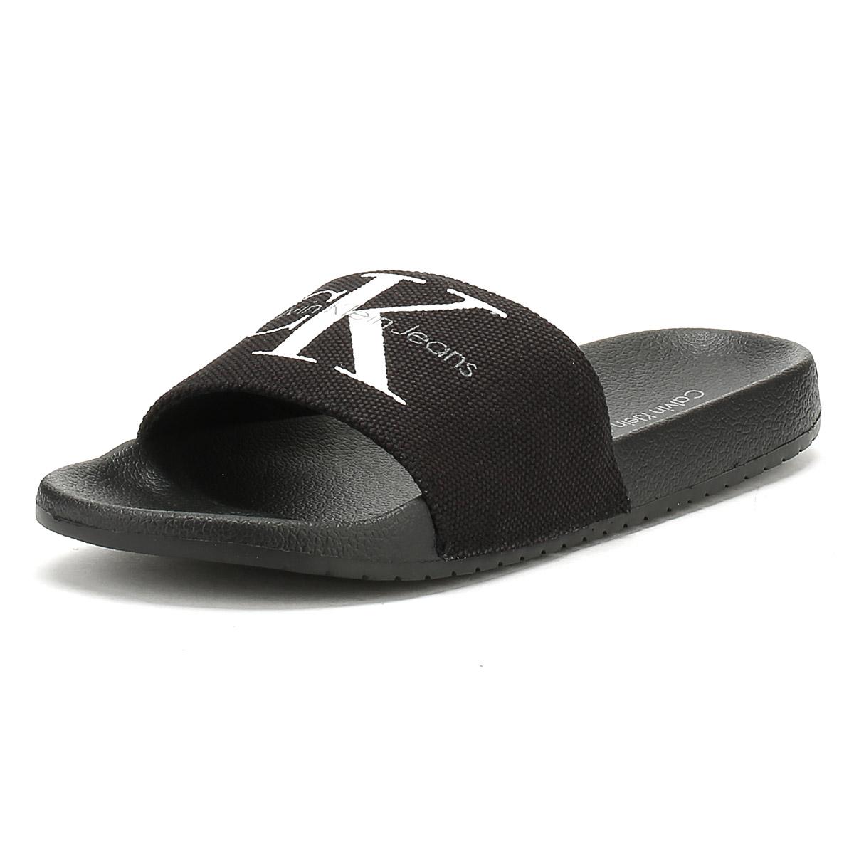 f0a6188176a Details about Calvin Klein Jeans Mens Black Viggo Slides Summer Flip Flops  Beach Shoes