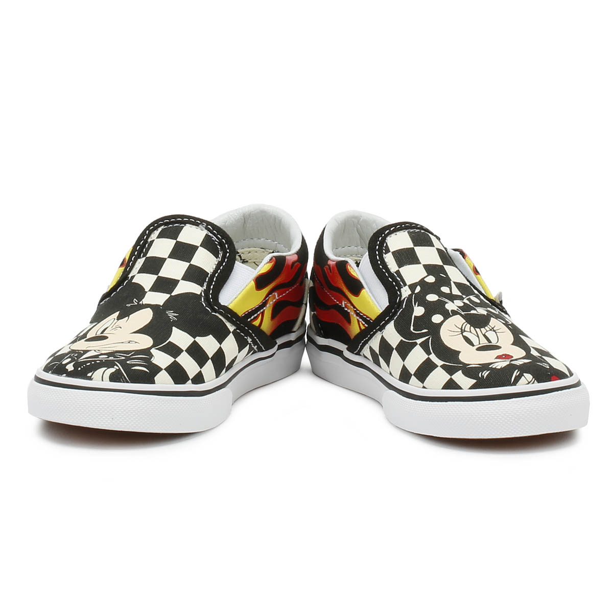 Vans Disney Kids Trainers Mickey   Minnie Checker Flame Toddlers Slip On  Shoes 80201e75eaab3