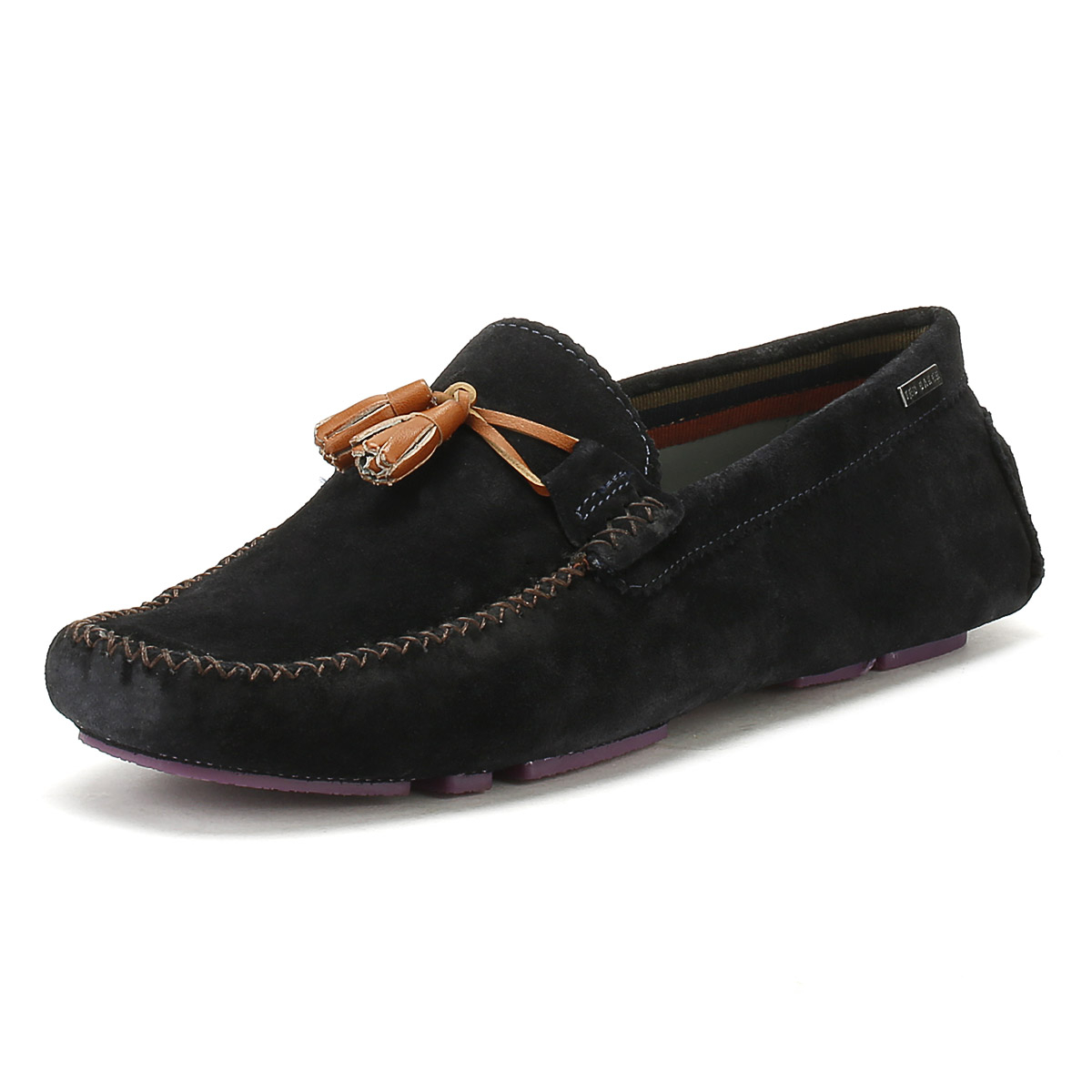7762147031c Details about Ted Baker Mens Dark Blue Urbonn Suede Shoes Casual Moccasins  Loafers