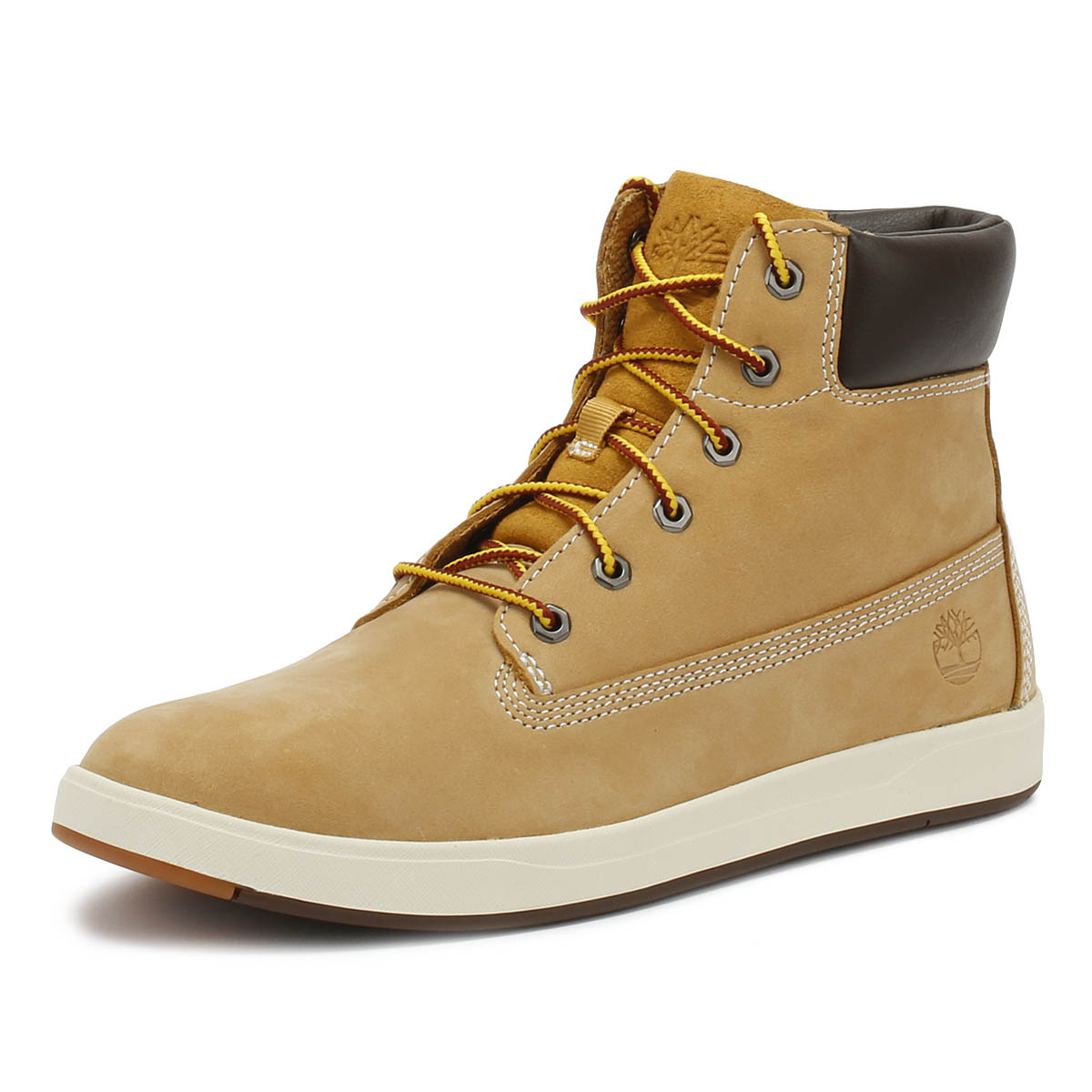 Details about Timberland Junior 6 Inch Boots Wheat Davis Square Leather Kids Winter Shoes
