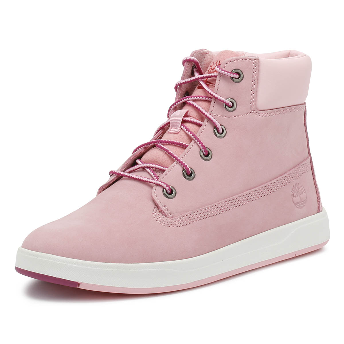 Details zu Timberland Junior 6 Inch Boots Pink Davis Square Leather Kids Winter Shoes