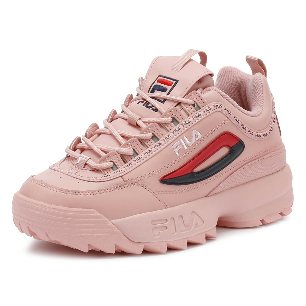 3a5c7c418dd6 Details about Fila Disruptor II Premium Repeat Pink Womens Trainers Sport  Casual Shoes