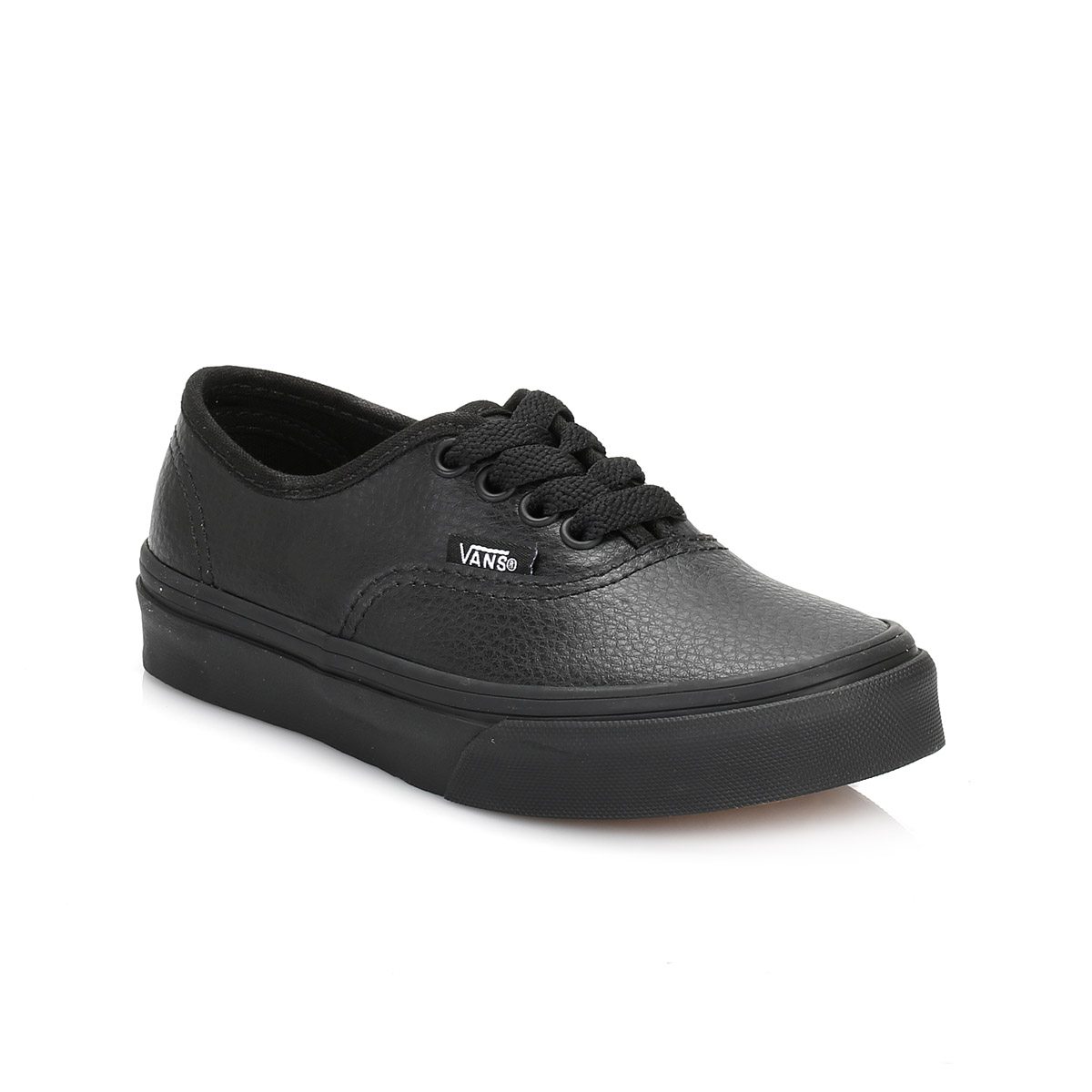 Vans Kids Girls Boys Black Leather Trainers Lace Up Casual ...