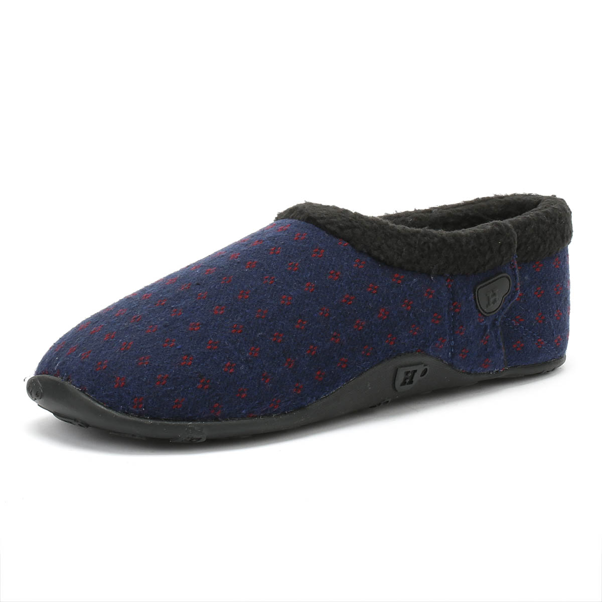 a2987112a Details about Homeys Frankie Mens Navy   Red Dot Slippers Home Shoes