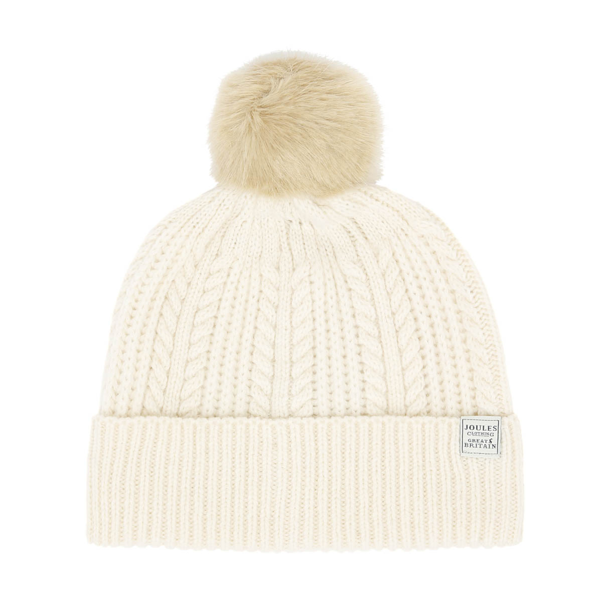 8b09bf6f720469 Details about Joules Unisex Bobble Cream Hat Cable Knit Warm Winter Beanie