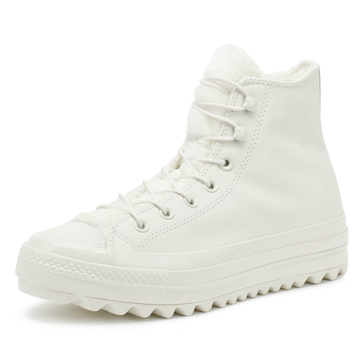 1293244b4c81 Details about Converse All Star Lift Ripple Womens White Hi Trainers Leather  Winter Shoes